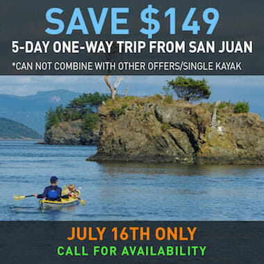 Save Big on 5-day One-Way San Juan Islands Sea Kayaking Trip